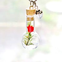 Terrarium Necklace Nature Jewelry Moss Red Flower Mini Glass Bottle Valentine's Gift