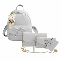 2017 Fashion Women Backpack Pu Leather Bowknot Backpacks Famous Brand for Girls School Bags with Purse and Bear sac a dos