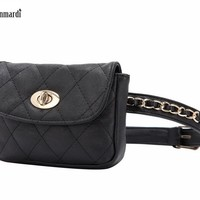 FUNMARDI Classic Fashion Women Waist Packs Vintage Casual Leather Bags Star Style Waist Packs Luxury Famous Brand Bags WLAM0066