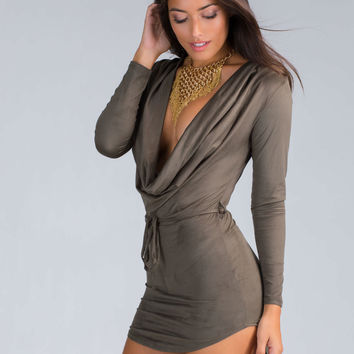 Cowl At The Moon Faux Suede Dress