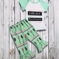 """Baby Girl's Outfit, """"Little Girl Big Dreams"""" Ruffled Capri Pant, Toddler Girl Outfit, Kids Clothes, Children's Clothing, Girls Summer Outfit"""