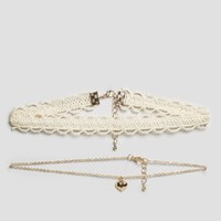 ASOS Pack of 2 Heart & Lace Choker Necklaces