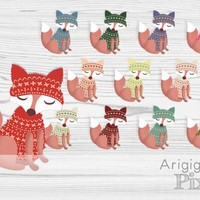 Dressed fox clipart, fox in sweater with winter cap, winter clip art, set of 12 images, commercial use digital elements, instant download