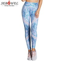 SEBOWEL Blue Scrawl Print High Waist Yoga Leggings Women Sexy Elastic Fitness Gym Active Pants Female Sport Running Trousers