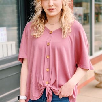 Oversized Button & Tie Front Short Sleeve Thermal {Mauve}