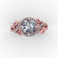 Rose gold engagement ring,moissanite diamond ring,style 160RGDM