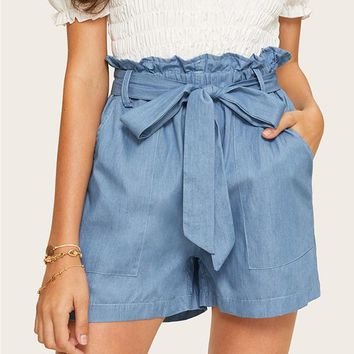 Casual Paperbag Waist Twin Pocket Patched Belted Denim Shorts Women High Waist Wide Leg Solid Shorts