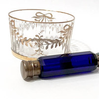Victorian Perfume Bottle, Cobalt Blue Double Ended Bottle, Antique 1880's, Gilt Plated, Screw Off, Hinged Top, Collectible Perfume Bottles