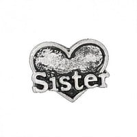 Floating Sisters Heart Charm Compatible With Origami Owl Lockets