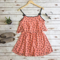 West Coast Pineapple Dress-Coral