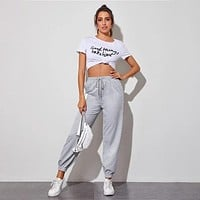 fhotwinter19 Women's new fashion sports high-waist lace-up trousers
