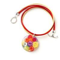 Bright Buttons Resin Pendant, Leather Necklace,Resin Jewelry, Button Jewelry, Primary Colors Red Yellow Green Blue