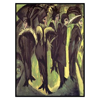 5 Women on a Berlin Street by Ernst Ludwig Kirchner Counted Cross Stitch Pattern