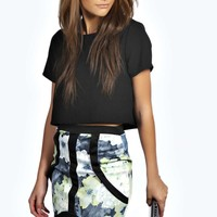 Nina Blurred Floral Print Panelled Mini Skirt