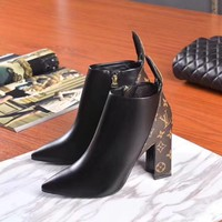 New arrivals office LV Louis Vuitton Women Popular Fashion Print Heels Shoes Boots best quality