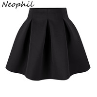 Neophil 2016 Winter Black Red High Waist Plus Size Pleated Space Cotton Ball Gown Short Mini Skirts Girls School Work Wear S0907