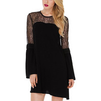 Black Lace Chiffon A-Line Dress