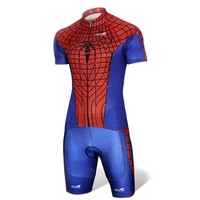 Spider-man Blue Costume Cycling Kits Bicycle Suit Short Jersey