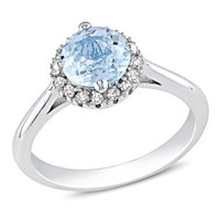 Sterling Silver Blue Topaz and Diamond Ring, (0.01 Cttw, G-H Color, I3 Clarity), Size 6