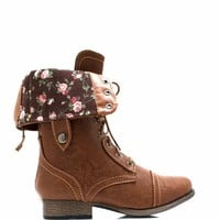 Convertible Floral Lining Combat Boots