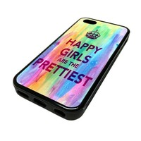 For Apple iPhone 5C 5 C Case Cover Skin Hipster Audrey Hepburn Quote Happy Girls Pretty Cute Teen DESIGN BLACK RUBBER SILICONE Teen Gift Vintage Hipster Fashion Design Art Print Cell Phone Accessories
