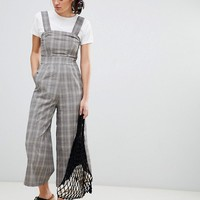 Pull&bear woven dungarees in check at asos.com