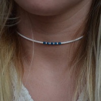 Turquoise and White Seed Bead Wire Structured Choker Necklace