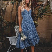 Bohemian Maxi Dress Flower Women Print Ruffle Pleated Button Sundress Summer Beach Holiday Long Dress Vestidos
