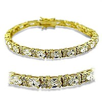16ct Ladies Yellow Gold Plated Oval Cut Cz Tennis Bracelet
