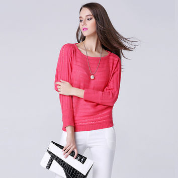 Knit Hollow Out Long Sleeve Patchwork Round-neck Pullover Women's Fashion Tops [9010375814]