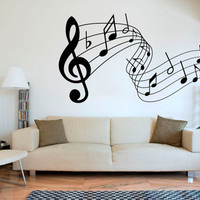 Wall Decal Vinyl Sticker Decals Art Decor Design Sign Music Songs Sound Notes Melody Jazz Living Room Dorm Nursery Bedroom Office (r1300)