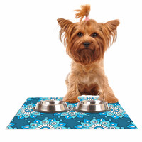 "Sarah Oelerich ""Blue Flower Burst"" Aqua Dog Place Mat"