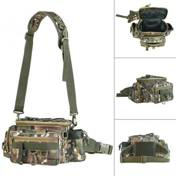 Durable 34 x 17 x 16cm Outdoor Camouflage Waist Shoulder Messenger Fishing Bag Fishing Reel Lure Photography Camera Storage Bag