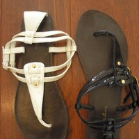 2 Ivory & Black T-Strap Sandals [Sz 7] from Poison