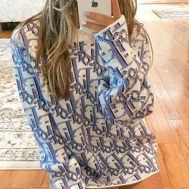 Image of Dior CD new large size blouse tie-dye sweater ladies loose and thin round neck all-match sweater