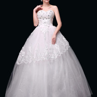 White Sweetheart Lace Sequined Wedding Dress