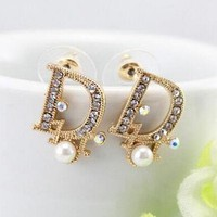 Dior Fashion Women Letter Pearl Diamond Stud Earring Jewelry I12074-1