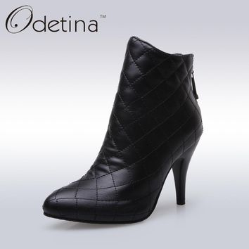 Odetina 2019 New Handmade Large Size Womens Fashion Plaid Thin Heel Ankle Boots Zip Up Pointed Toe Booties with Zipper In Back