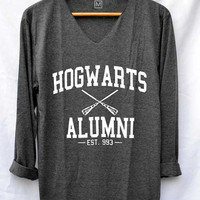 Hogwarts Alumni School Shirt Harry Potter Magic Shirts V-Neck Long Sleeve Unisex Size S M L