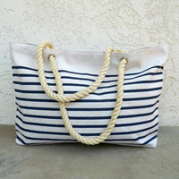 Nautical Rope Handle Tote [5592] - $24.00 : Vintage Inspired Clothing & Affordable Dresses, deloom | Modern. Vintage. Crafted.