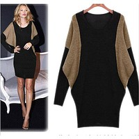 Plus Size Sweater Women Batwing Sleeve Oversized Knitted Sweaters Dresses New Fashion 2017 Women Winter Sweaters Pullovers