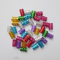 100Pcs/Lot  Colorful Round Hair Rings Adjustable Cuff Clip 10mm Hole mix Golden Plated hair dread Green Dreadlock Bead
