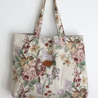 Vintage 80s Large Muted Floral Print Cotton Tote Bag // Women's Market Tote