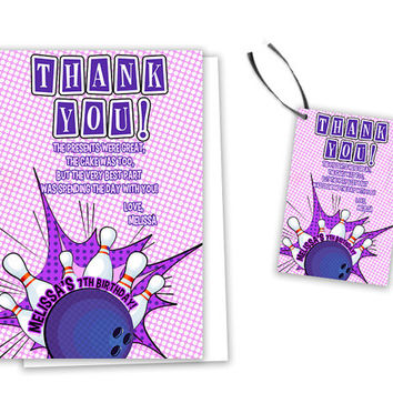 Bowling Party Thank You Tag - Girl Bowling Birthday Party Favor Tags - Purple Bowling Party Thank You Cards - Cards or Tags - Fast - Custom