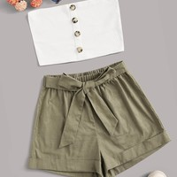 Button Front Tube Top & Belted Shorts