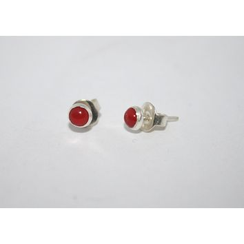Sterling Silver Earrings, Stud Earring, Coral Earring
