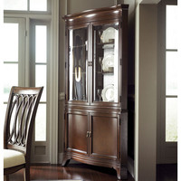 American Drew Cherry Grove NG Corner China Cabinet in Mid Tone Brown