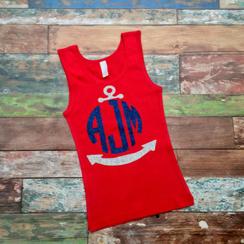 Glitter Monogrammed Tank top, Personalized Tank top for Girls, Teens, Women, You Choose Design, Anchor Monogram Tank top, Baton, Bow