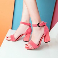 Genuine Leather Gladiator Style Chunky Sandals High Heels Pumps 6822