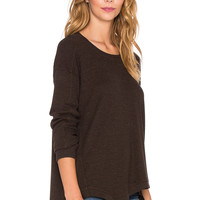 Wilt Big Slanted Mixed Sweatshirt in Brown